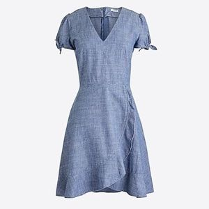 JCrew Chambray faux-wrap dress